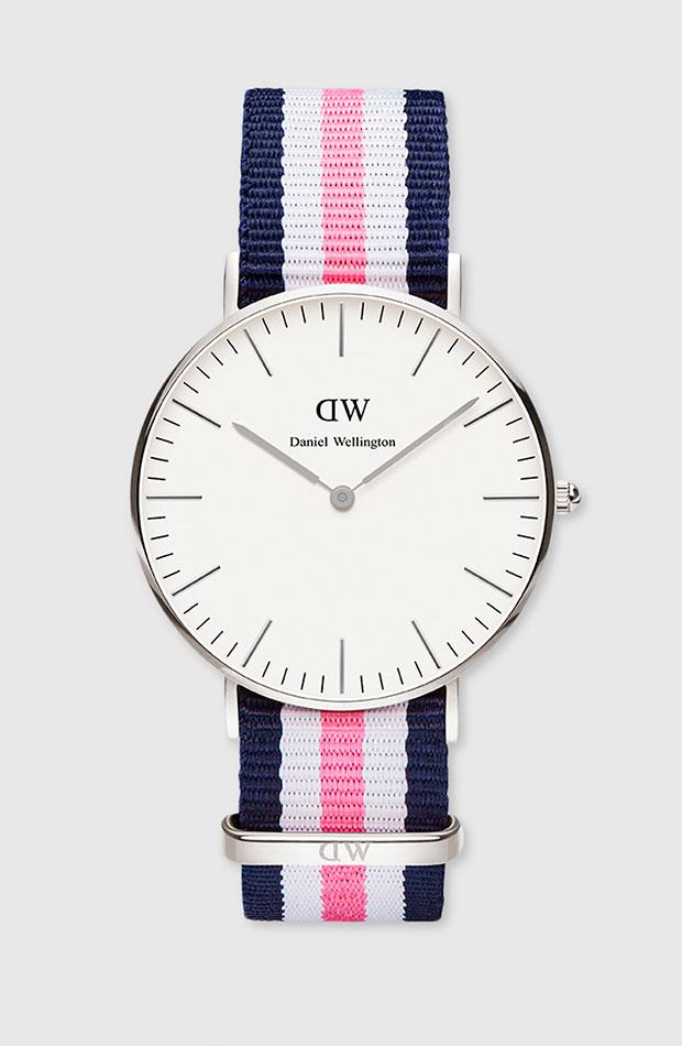 Reloj de Daniel Wellington con correa textil de rayas de colores