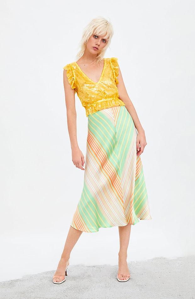 falda midi tendencia multicolor