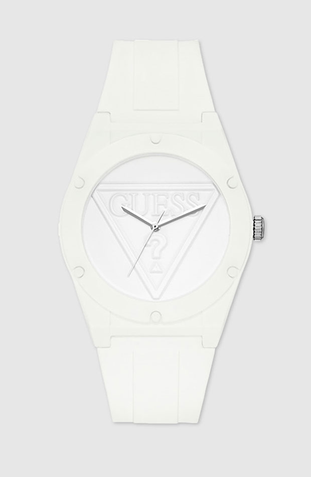 Reloj de silicona en blanco de Guess