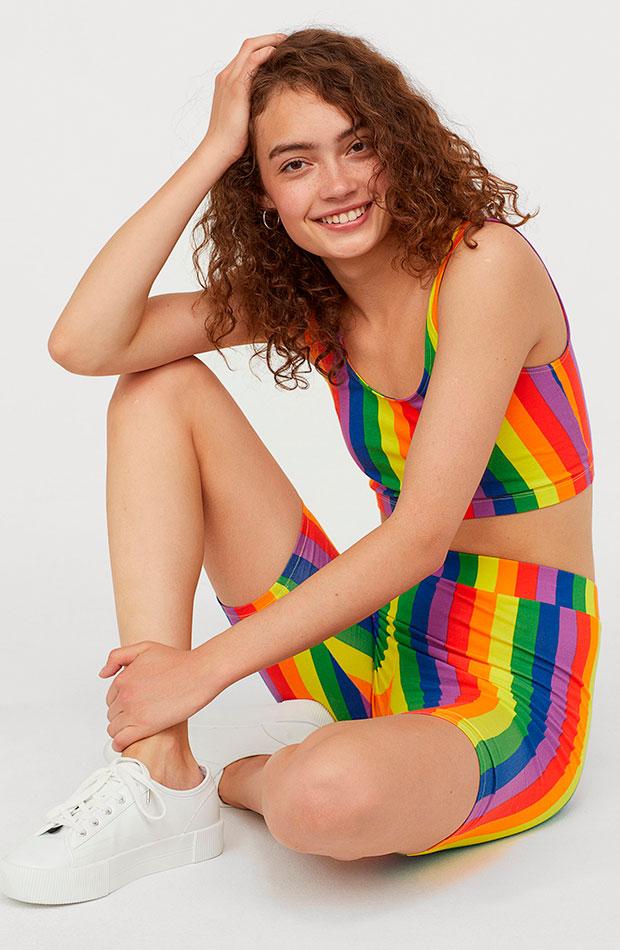 conjunto dos piezas de rayas verticales de tendencia multicolor
