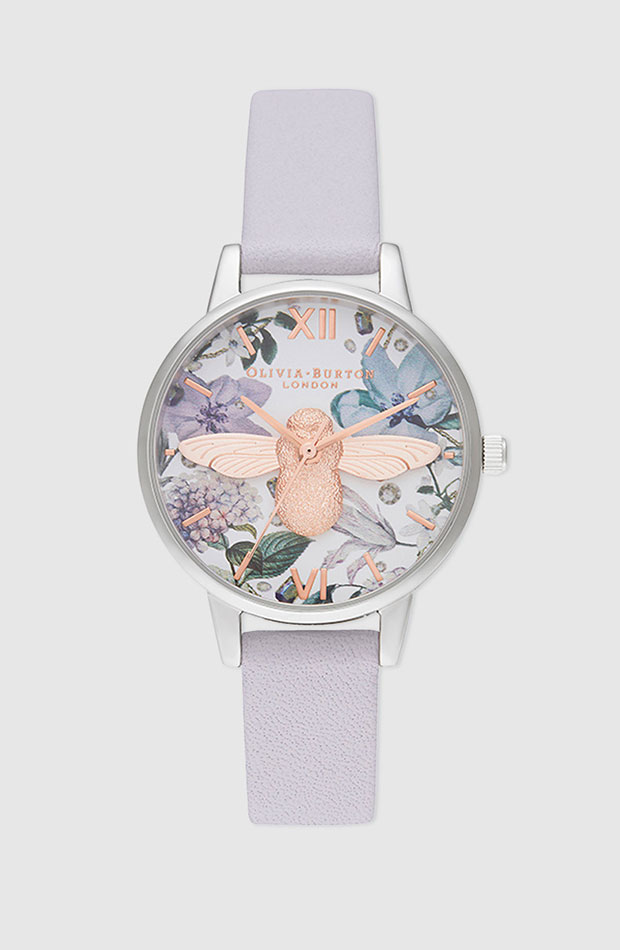 Reloj con correa en violeta y esfera de flores de Olivia Burton