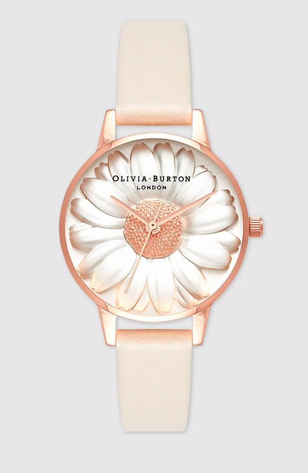 Reloj con flor en esfera y en tonos pastel de Olivia Burton