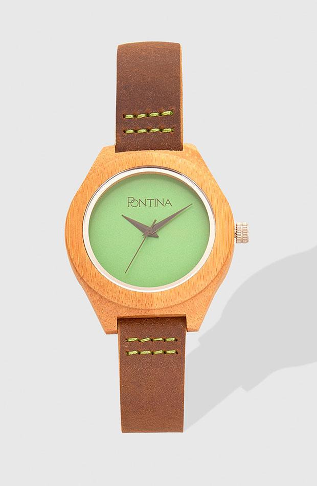 Reloj de Pontina en piel marrón y con esfera en verde pistacho