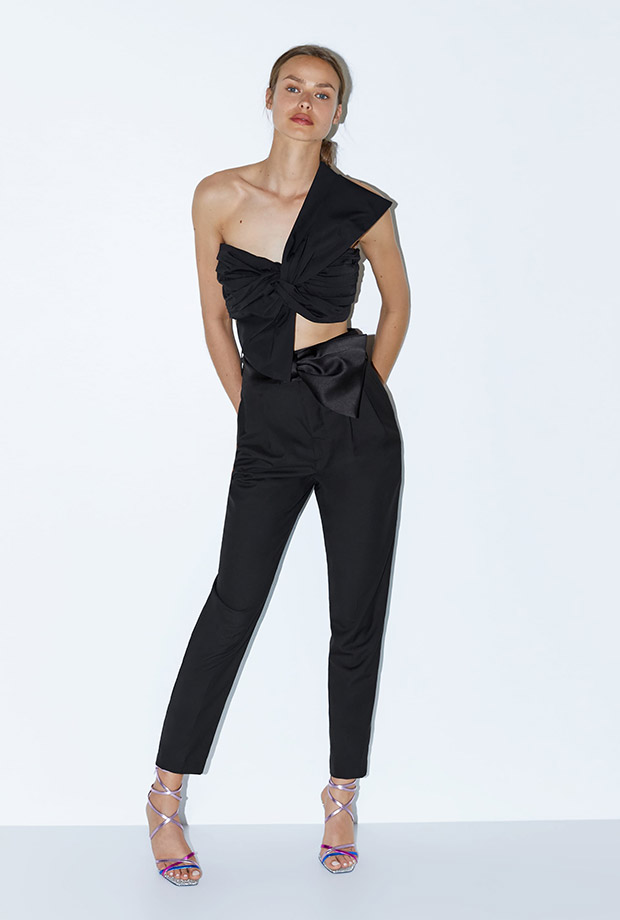 Pantalón negro de cóctel con lazo
