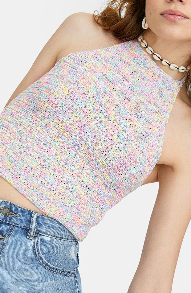 top cuello halter de crochet multicolor