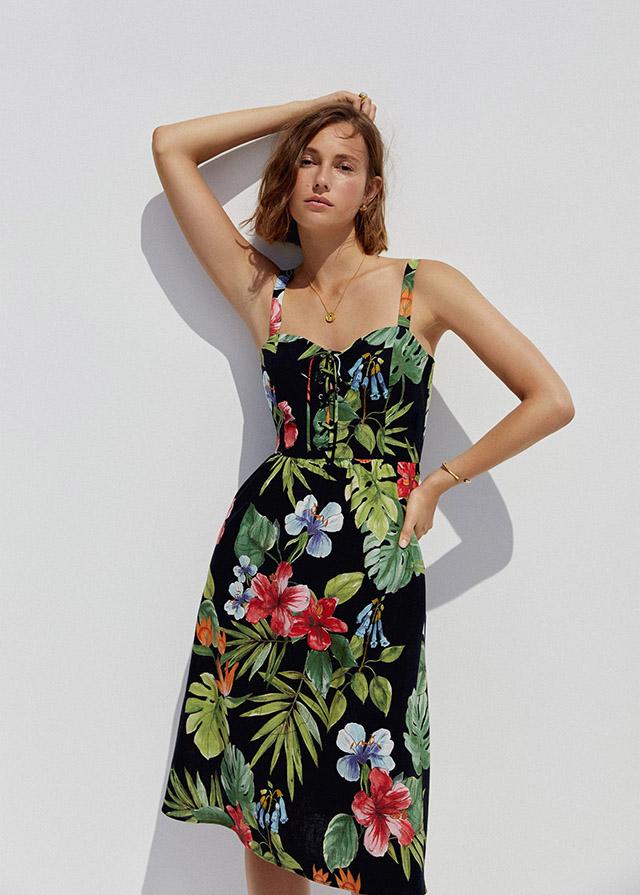 Vestido tropical de lino