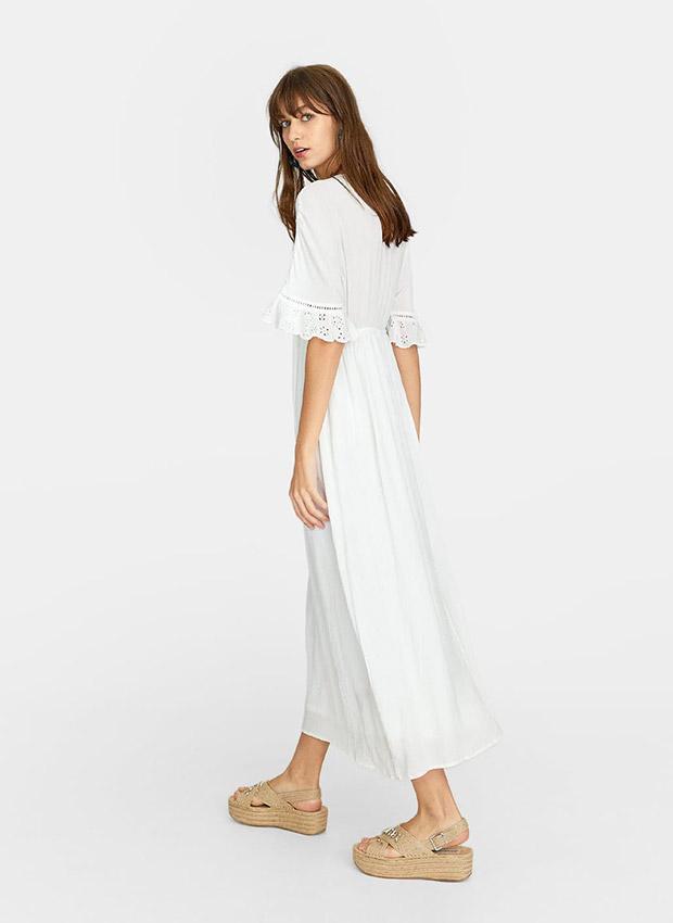 Vestido largo blanco con bordado suizo
