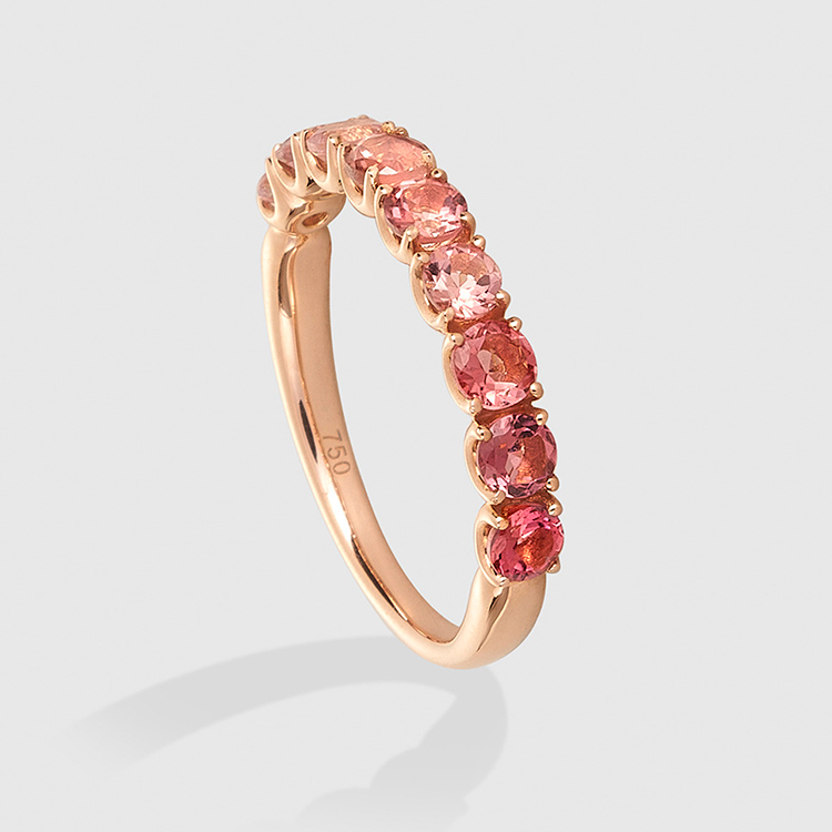 Anillo de oro y turmalina rosa de Happy Colors