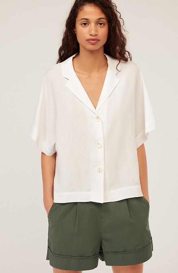 camisa blanca roto de lino oysho