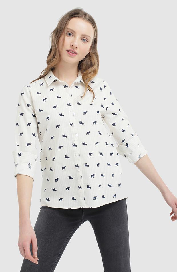 camisa con estampado de elefante