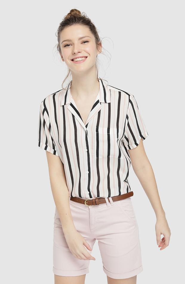 camisa manga corta con rayas
