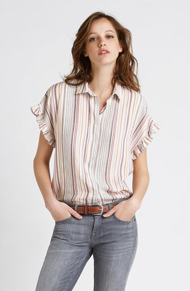 camisa vesatil con rayas y olanes