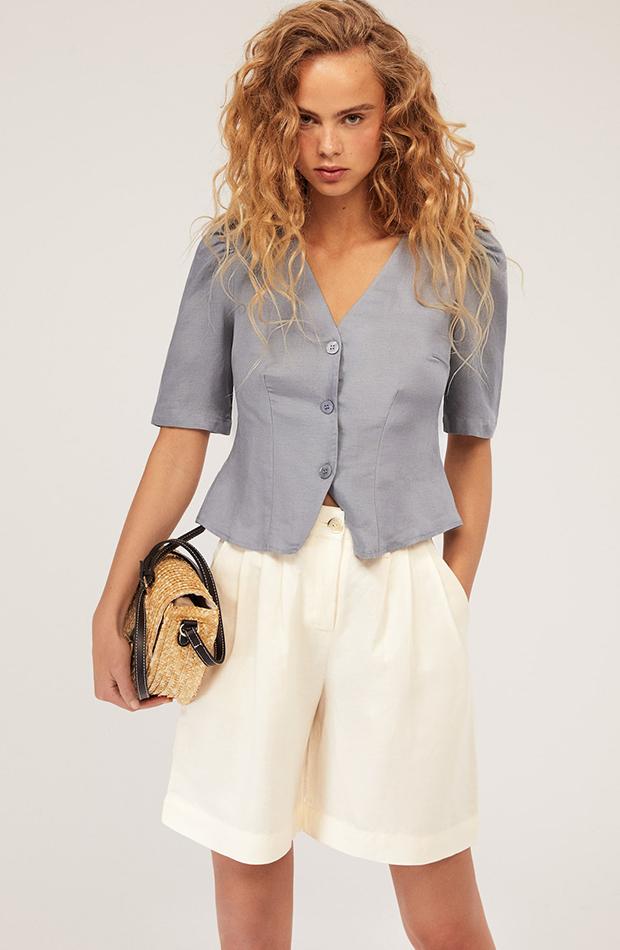 prendas de lino camisa azul oysho