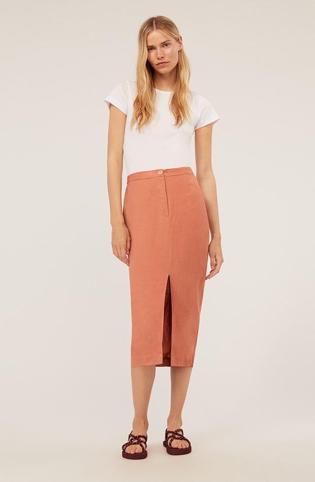 prendas de lino falda midi color teja oysho