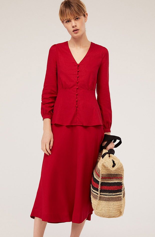 prendas de lino rojo oysho