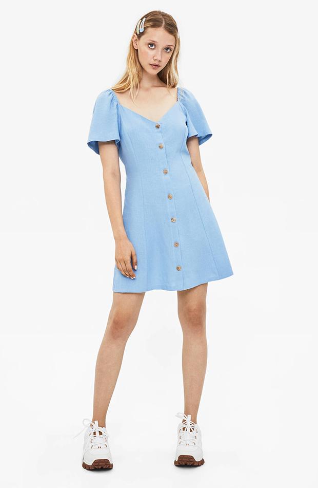 vestido de lino azul celeste Bershka