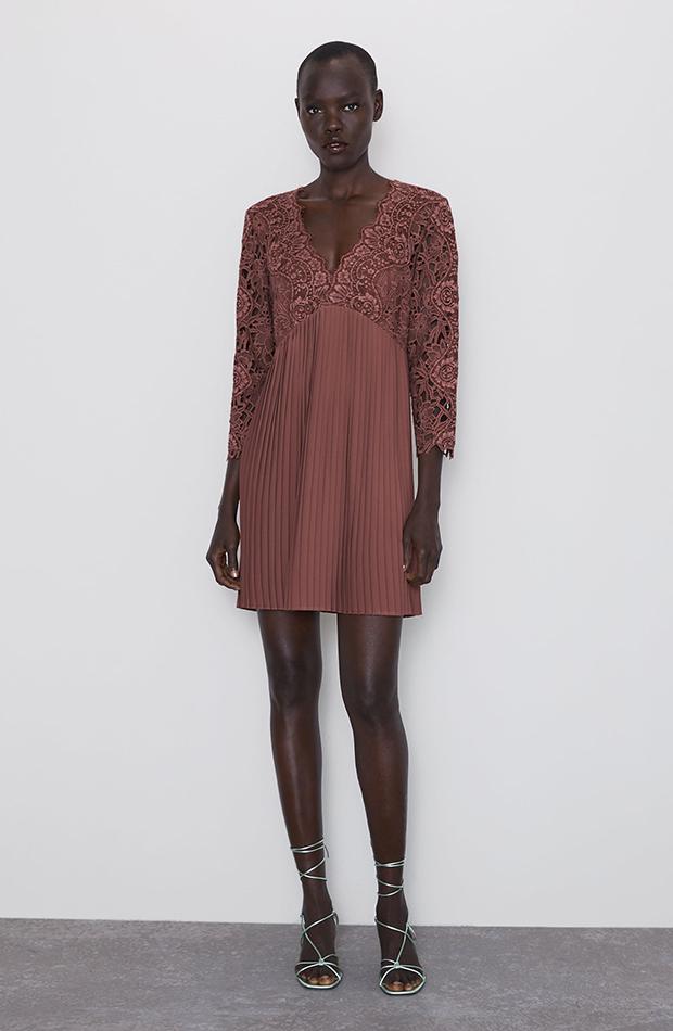 vestido plisado de encaje zara