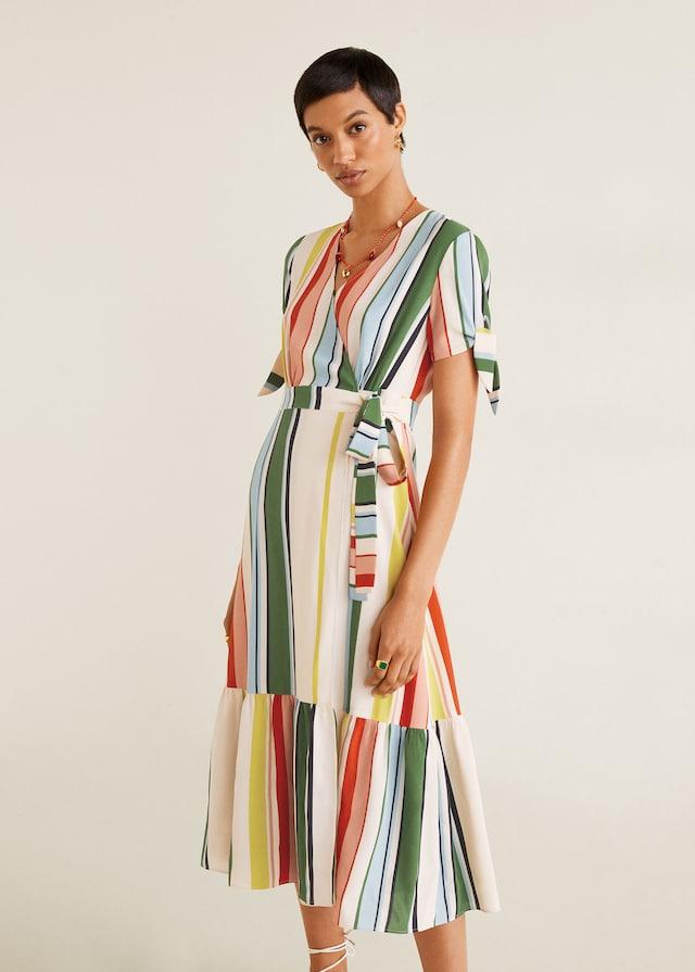 Vestido cruzado rayas de las rebajas de Mango