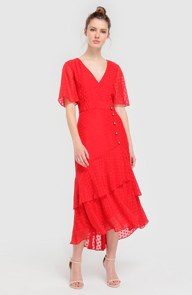 Vestido rojo de lunares con volantes
