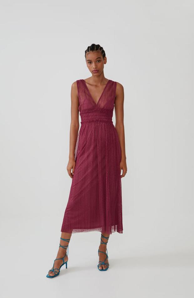 Vestido Zara plumeti