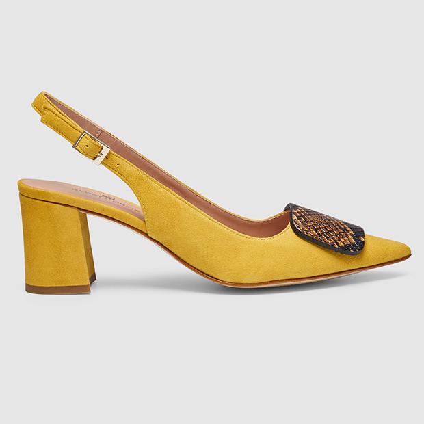 Zapatos de punta en amarillo mostaza