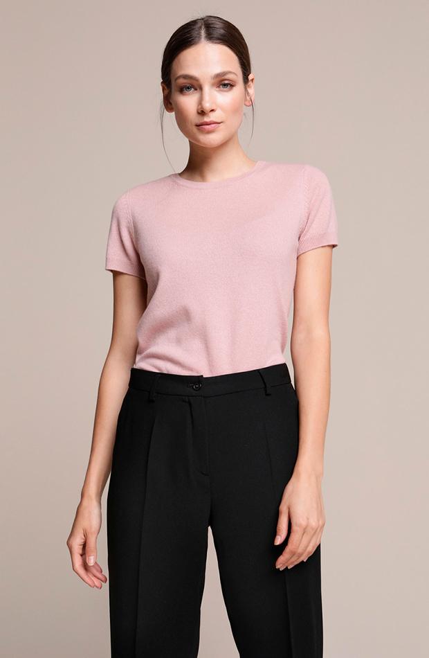 Jersey de cashmere de manga corta en color rosa de Woman El Corte Inglés básicos de armario