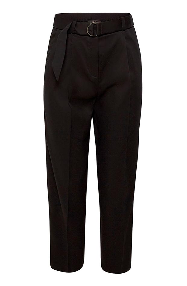 Pantalón negro de traje con cinturón de Woman