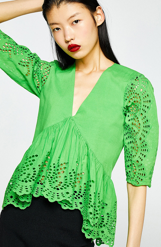 prendas para verano top verde con escote en v