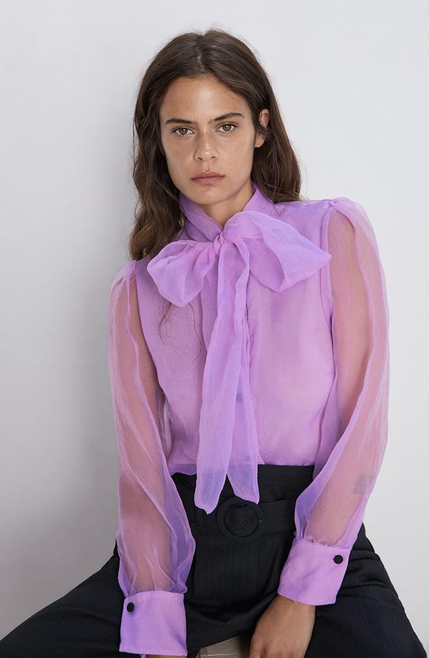 blusa se organza prendas color lila