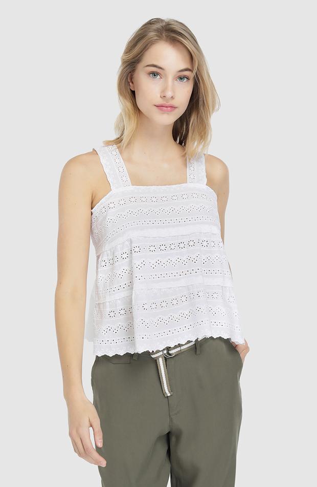prendas para verano top blanco de tirantes anchos