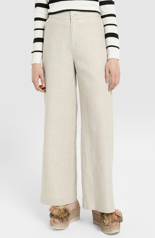 look beige pantalon lino tintoretto
