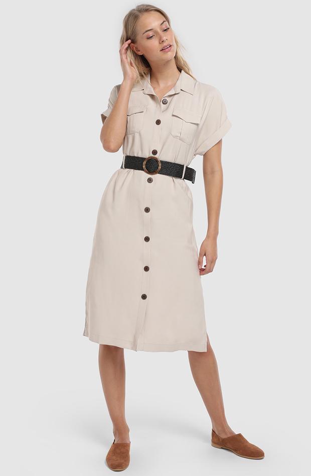 look beige vestido camisero formula joven