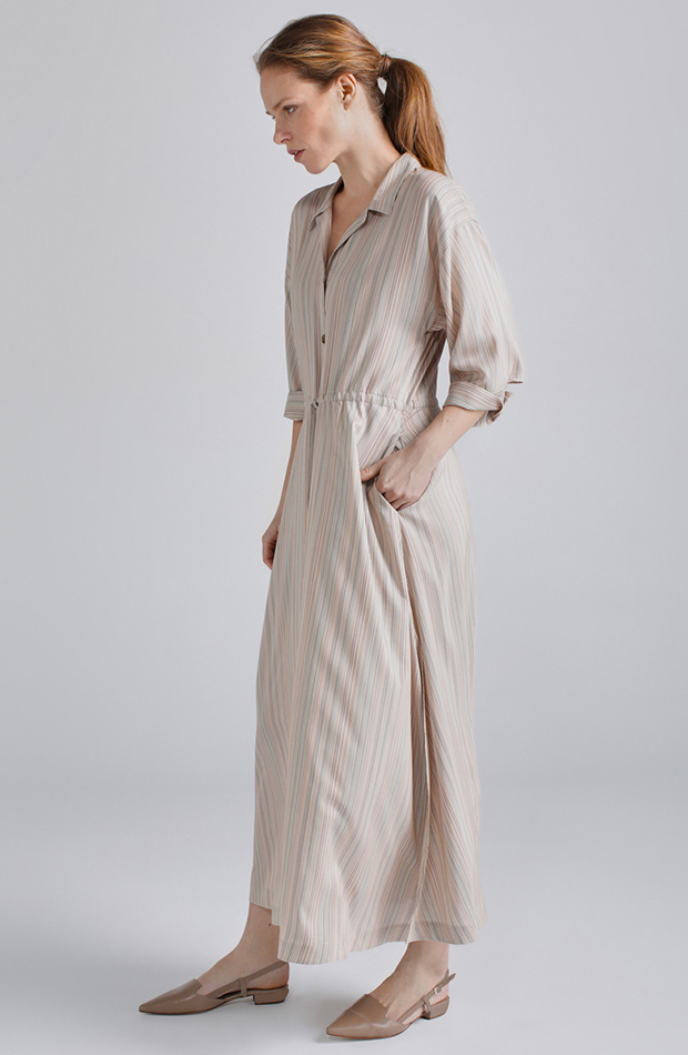 look beige vestido camisero woman
