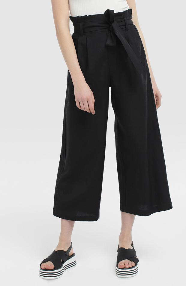 pantalon paper bag negro amplio