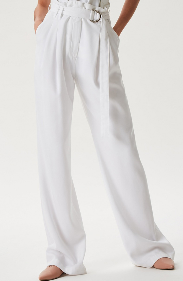 pantalon paper bag blanco fluido