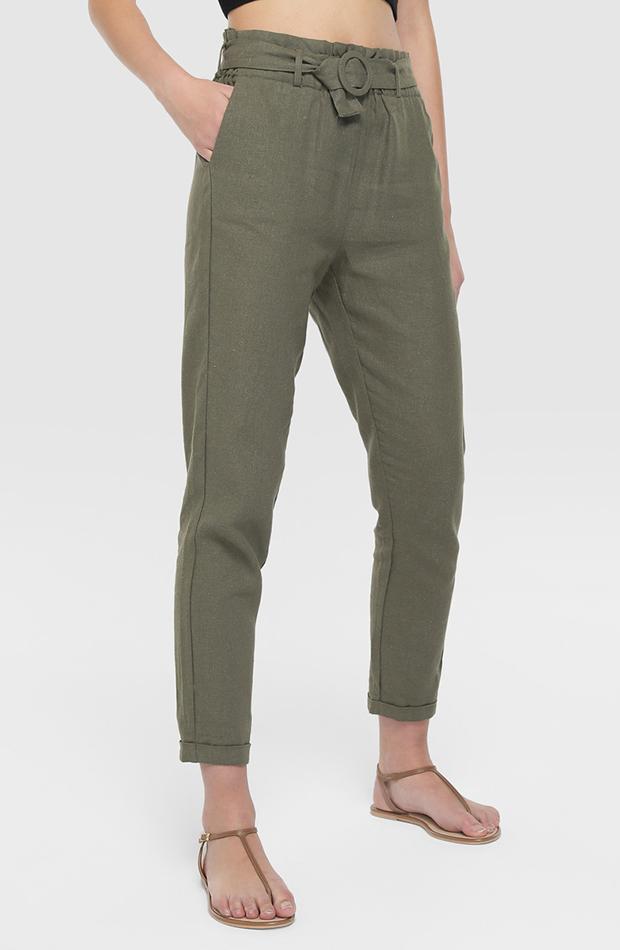 pantalon paper bag verde con cinturon