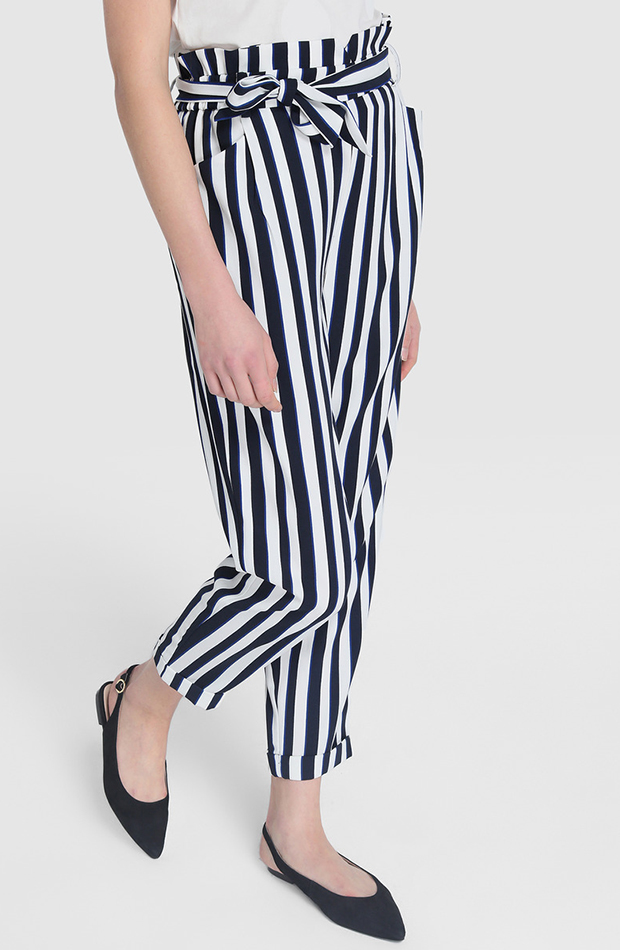 pantalon paper bag de rayas verticales