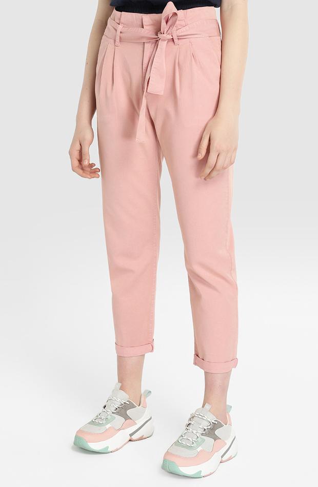 pantalon paper bag rosa