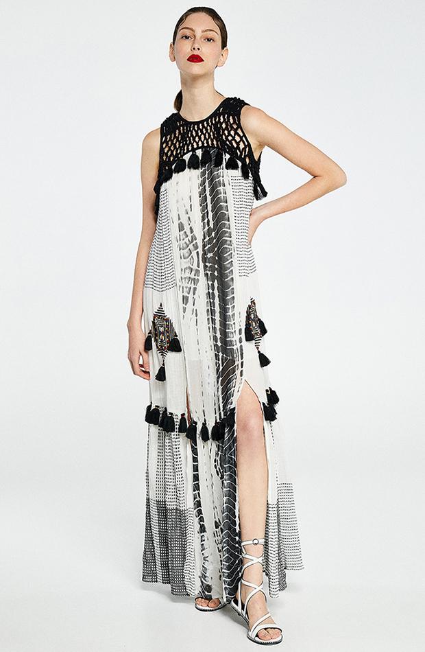 prendas para verano vestido macrame blanco y negro