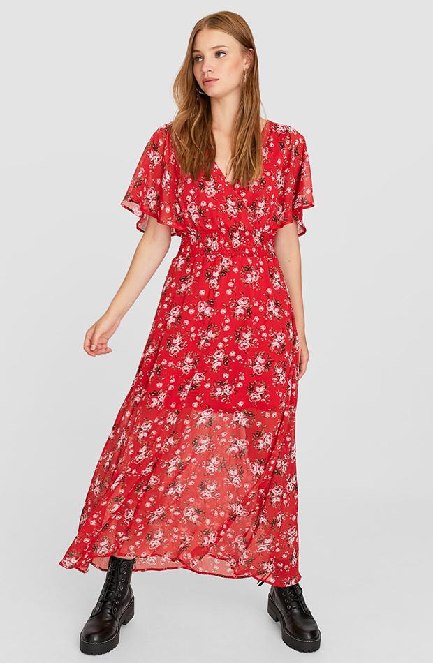 vestido rojo flores