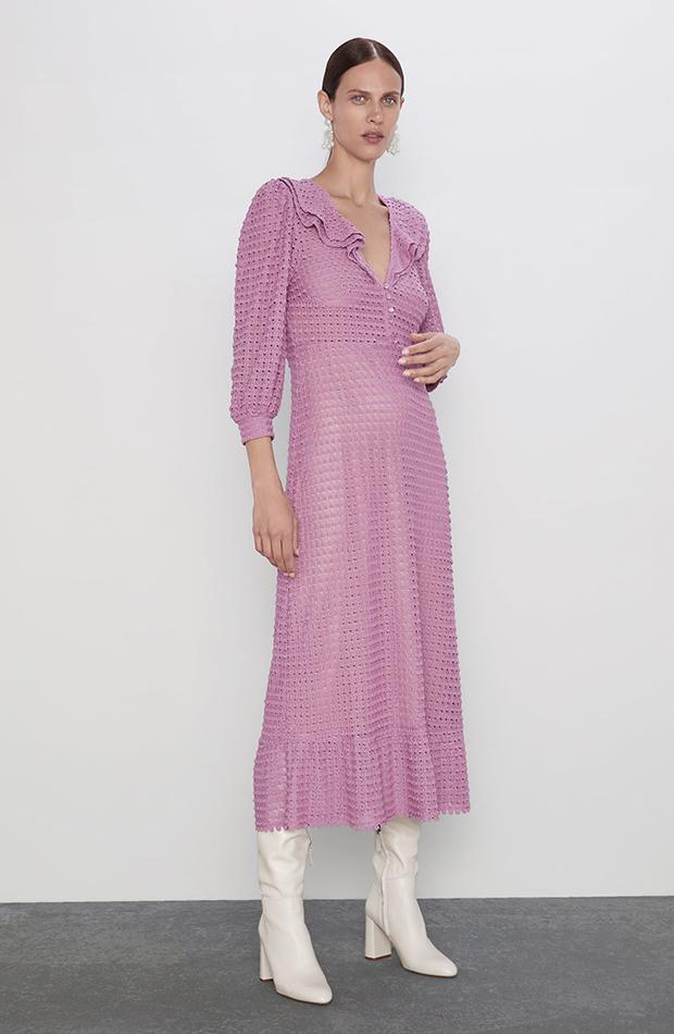 prendas color lila vestido de punto zara