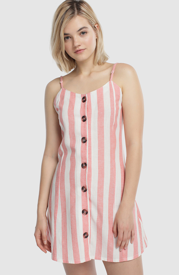 prendas para verano vestido de tirantes con botones y rayas