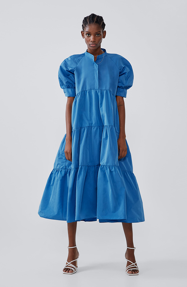 vestido azul mangas globo