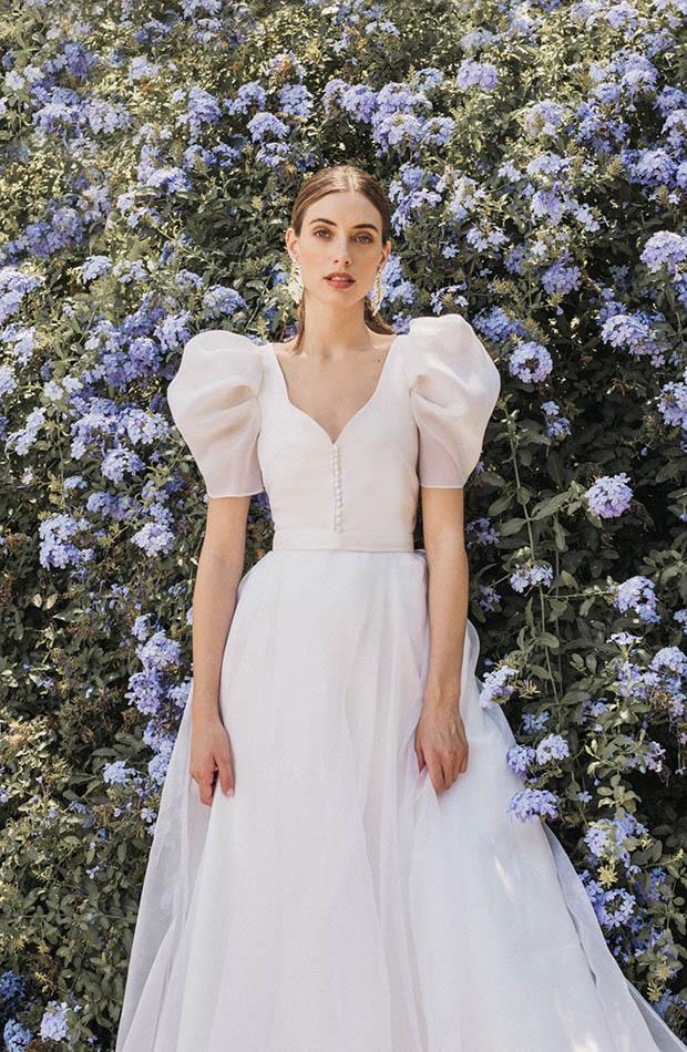 Vestido de novia de Cherubina con mangas farol