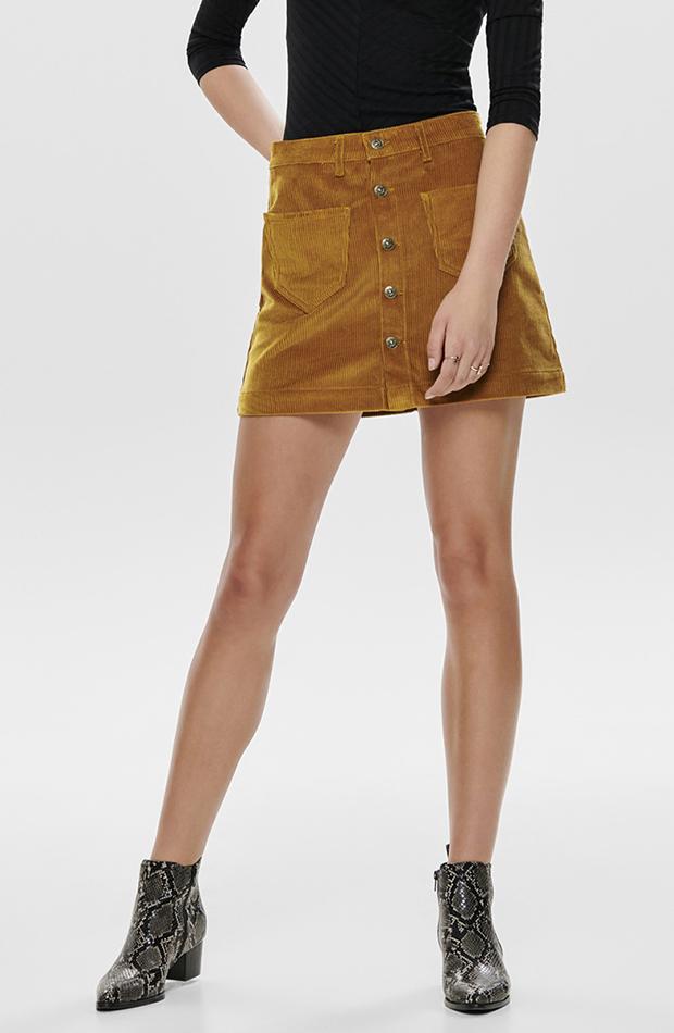 falda mini de pana y botones