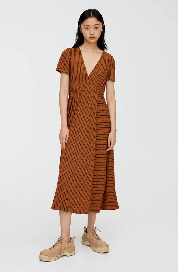 vestido de rayas a contraste
