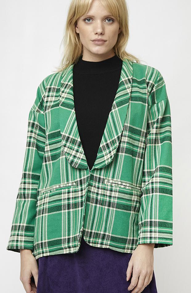 blazer verde con cuadros