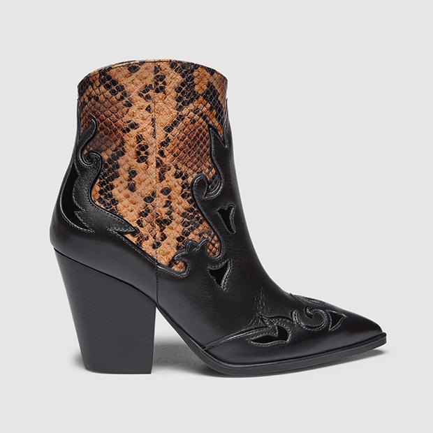 calzado animal print botines con caña con print