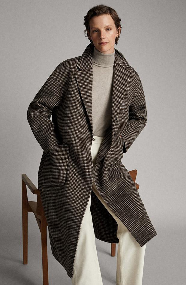 Abrigo de lana de estampado de cuadros
