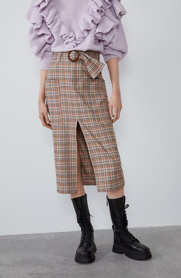 Falda midi de estampado de cuadros